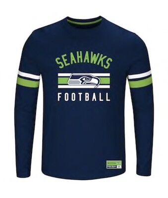 - Seattle Seahawks Football Long Sleeve Crewneck Practice T-Shirt Majestic Big 3XL