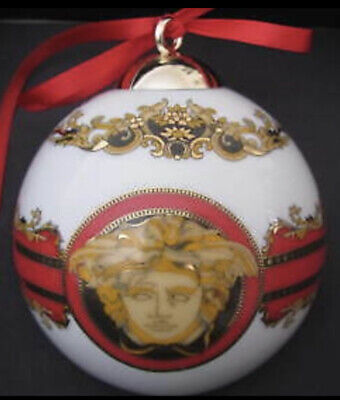 VERSACE CHRISTMAS MEDUSA BALL ORNAMENT RED GOLD  ROSENTHAL NEW IN BOX SALE