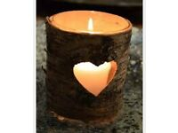 10 X Wooden Heart Shaped Candle Holders + candles