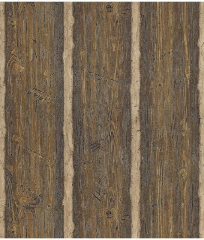Brewster 145-41382 Northwoods Lodge Dakota Brown Textured Rustic Wood Wallpaper