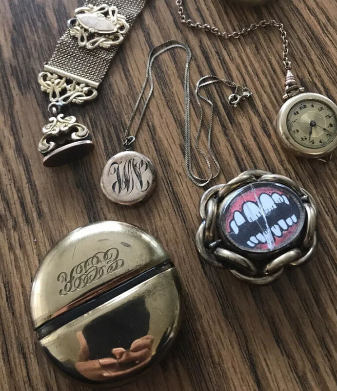 vintage antique jewelry victorian lot , Silver , Brass , Gold Plated