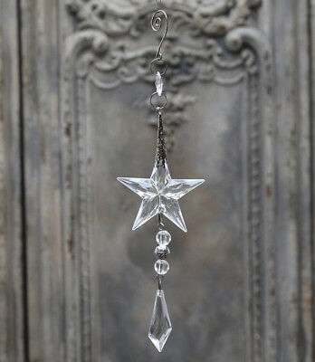 French Antique Inspired Acrylic Star & Vintage Metal Christmas Tree Decoration