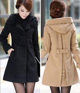 Hot New Listing capuche mode femme manteau de laine dhiver Noble veste