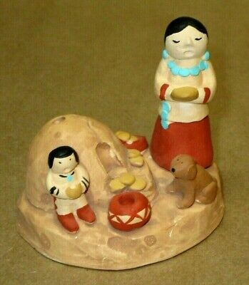 1986 Teissedre Storyteller w/ One Child, Dog, Bread Oven Native American Navajo