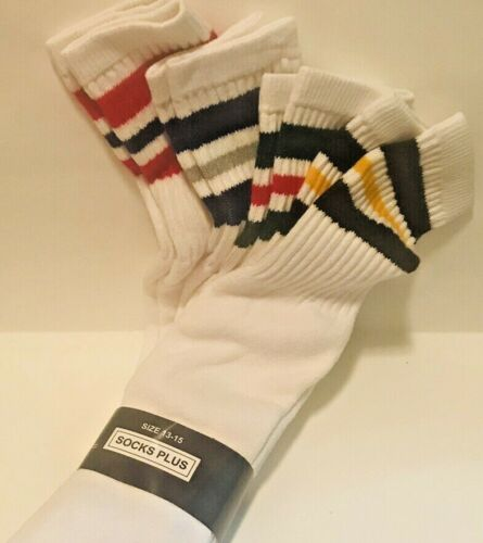 Mens Tube Socks 4 Pair Size 13-15 Cotton Athletic Sports Vintage 1970-1980