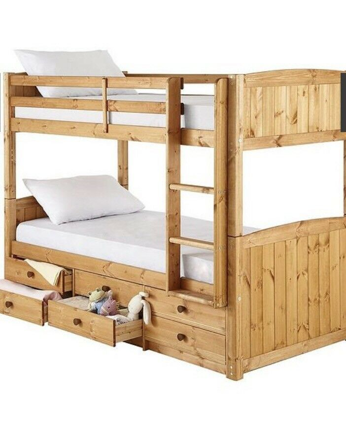 Kidspace Georgie Solid Pine Bunk Bed Frame With Storage Drawers In