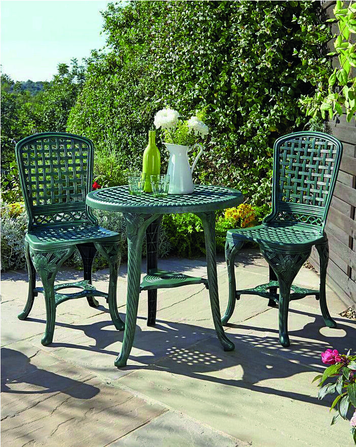 Garden Furniture - 3 PCS GARDEN PATIO BISTRO TABLE & 2 CHAIRS OUTDOOR FURNITURE DINING SET - GREEN