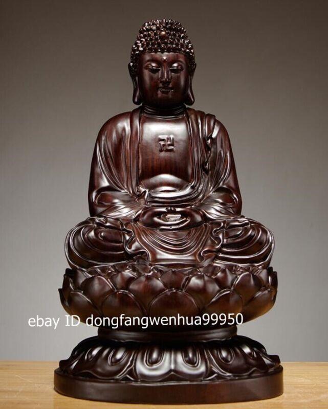 Chinese Black Rosewood Wood Shakyamuni Sakyamuni Gautama rulai Buddha sculpture