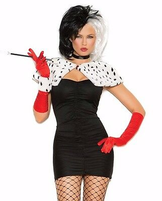 Cruella De Vil Sexy Costume Medium M Women Cosplay Halloween Dress Disney - Dog Devil Costume