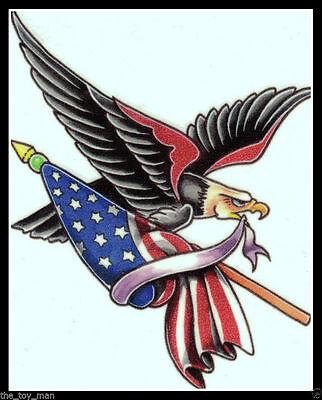 - PATRIOTIC BALD EAGLE AMERICAN FLAG BIKER USA~4TH OF JULY 4TH~TEMPORARY TATTOO