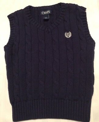 BOYS SWEATER VEST CHAPS BY RALPH LAUREN SIZE 4 NAVY BLUE CABLE KNIT - Boys Sweater Vest