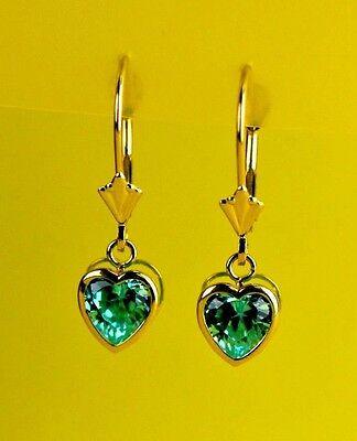 14k Yellow Gold Bezel Heart Birthstone Dangle Leverback Pierced Earrings  6x6 MM