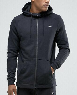 Nike Black Hoodie Hoody Mens Modern Jumper Zip Up Cotton RRP £60 S M L XL