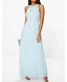 Beautiful pale blue full length dress with bead detail