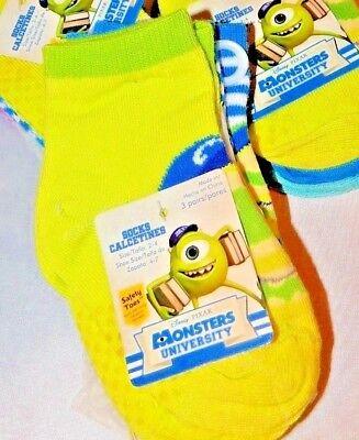 Disney Monsters University 3 Pair Pack No Slip Socks Sz 2-4 Shoe Sz 4-7
