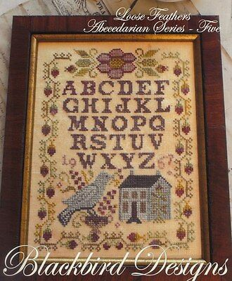 BLUEBIRD OF HAPPINESS CROSS STITCH SAMPLER BLACKBIRD DESIGNS LOOSE FEATHERS