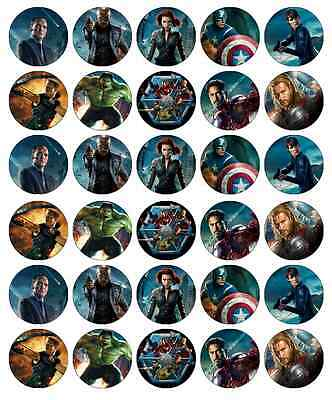 30 x Avengers Marvel Edible Cupcake Toppers Wafer Paper Fairy Cake Topper Movie