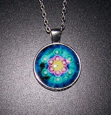 HOROSCOPE CELESTIAL  cabochon charm necklace 925 Sterling Silver plated chain