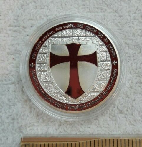 NEW, Knights Templar Cross Coin – Red & Silver