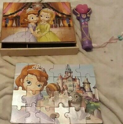Used, Children's Toy bundle Sofia the First Recording Microphone 2 wooden puzzles lot for sale  Shipping to South Africa