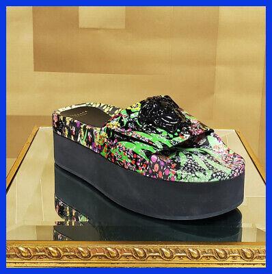 New VERSACE Palazzo Floral Patent leather flat platform sandals 38  - 8