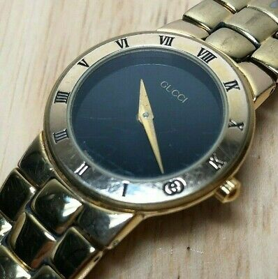 Authentic Vintage GUCCI 3300.2.L Lady Gold Plated Quartz Watch Hours~New Battery