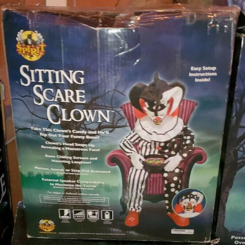 Used Spirit Halloween Sitting Scare Clown Prop 2017 Retired Rare Working