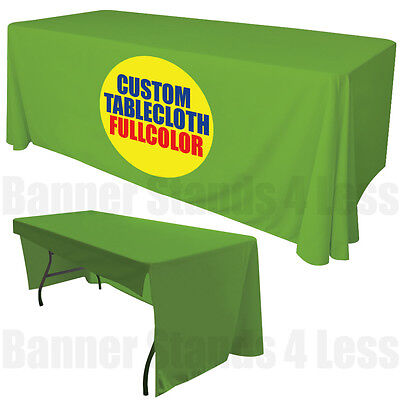 Custom 6 Ft Table Cover Tablecover 3 Sided Tablecloth Trade Show Full Color