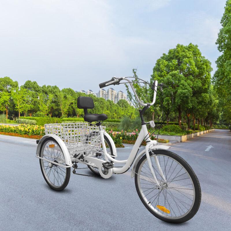"White 3-Wheels Trike 24"" Adult Tricycle 7-Speed Men's/women'"
