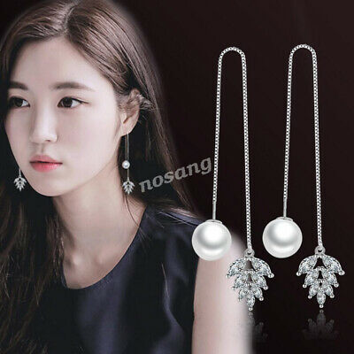 Women 925 Sterling Silver Elegant Pearl Crystal Threader Drop Dangle Earrings Pearl 925 Sterling Silver Drop