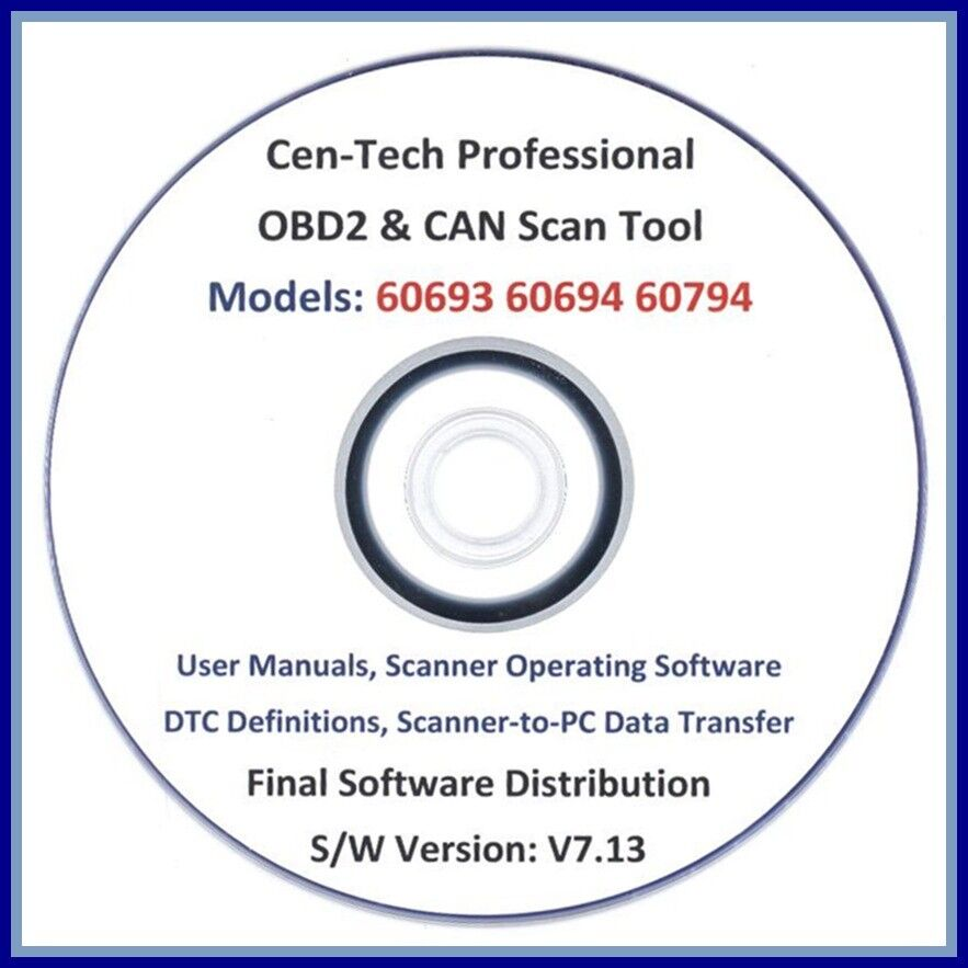 Software Cd : Cen-tech Obd2 Can Scanner Scan Obdii Code