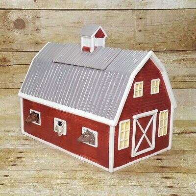 Montana Lifestyles Red Barn Horse Stable Porcelain Cookie Jar