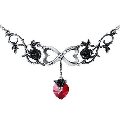 ALCHEMY INFINITE LOVE NECKLACE Black Roses Red Swarovski Heart Eternal Love Goth