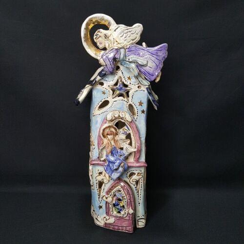 "Blue Sky Clayworks Heavens Angels Chapel Tea Light House Heather Goldminc 12"""