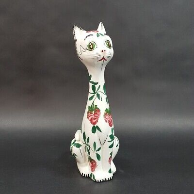 Vintage White Glazed Ceramic Cat Figurine Strawberry Design 9.75
