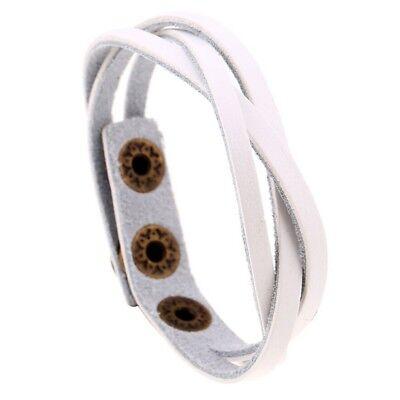 - Paparazzi White Braided Leather Wrap Cuff Bracelet