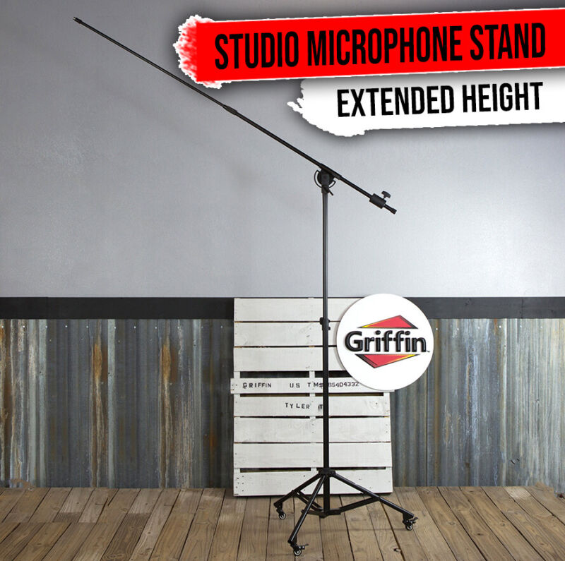 Studio Microphone Stand On Wheels Tall Overhead Boom Arm Mic Mount Stage Holder