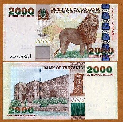 Tanzania, 2000 Shilingi, ND (2009), Pick 37 (37b), UNC > Lion