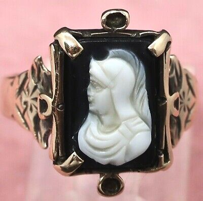 VTG Art Deco 10K Rose Gold Carved Cameo Shell Portrait Roman Warrior Ring Size 7