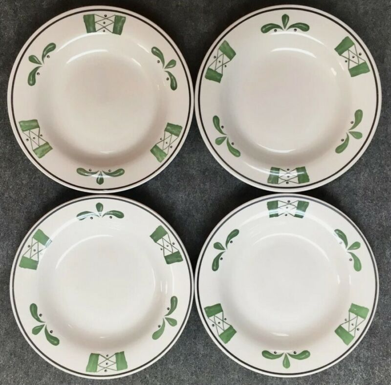 "4 Olive Garden Buffalo China Restaurant Ware 7-1/2"" Bowl Plates Green White TPA"