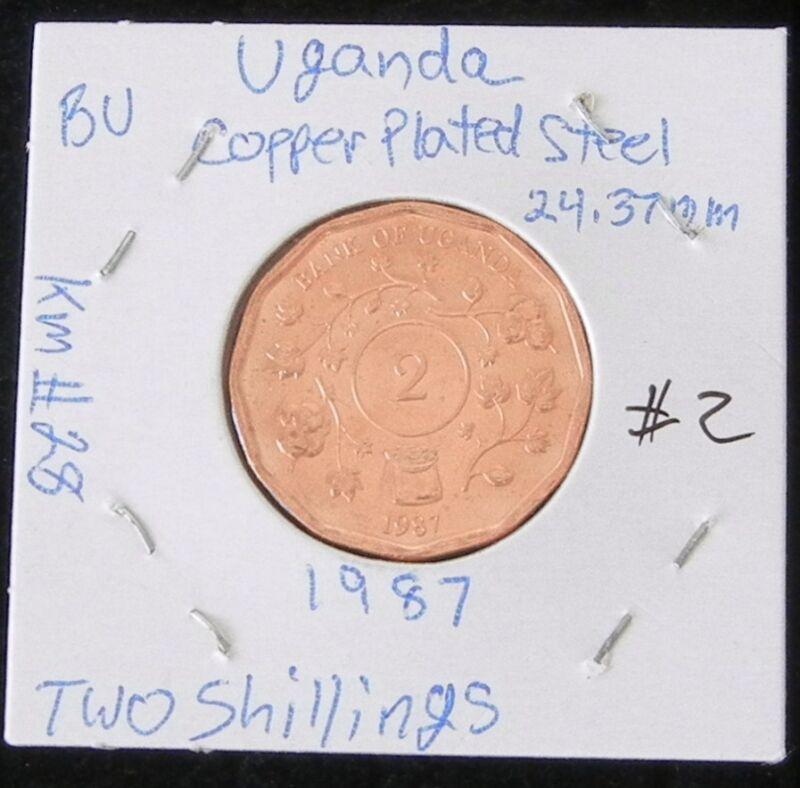 BEAUTIFUL UGANDA 2 COIN SET ~ 2 BRILLIANT UNCIRCULATED 1987 TWO  SHILLINGS COINS