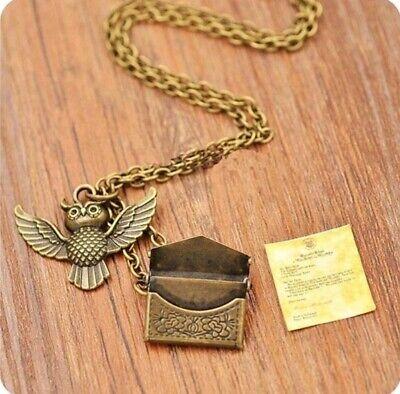 Harry Potter Eule Kette Halskette Anhänger schreiben von Hogwarts Brief Umschlag (Brief Halskette)