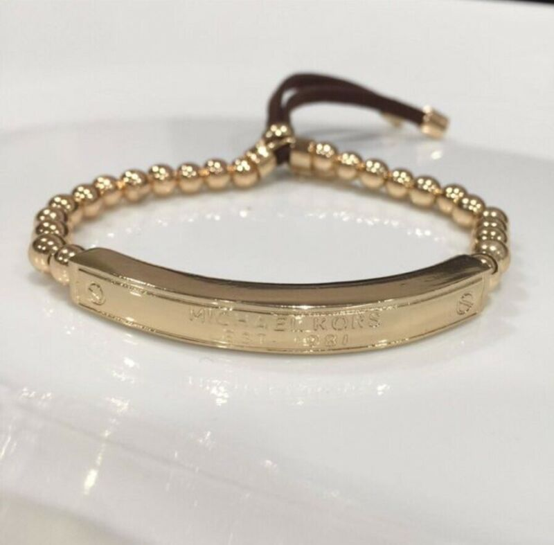 MK Michael Kors Plaque Bracelet Bangle Womens Jewelry Accessory Gold Tone Beads