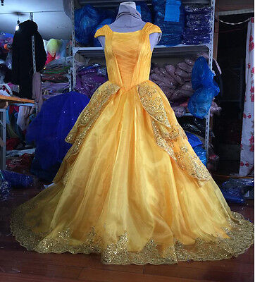 Adult Girls Belle Dress Beauty and the Beast 2017 New Blue Dress Wedding - Girl Halloween Costumes 2017