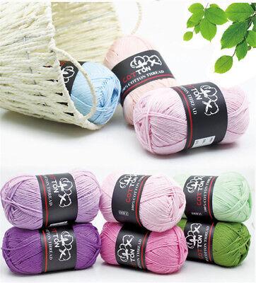 Sale 1ball x 50g Soft 100% Cotton Chunky Baby Yarn New Wool Socks Scarf (Soft Yarn Socks)