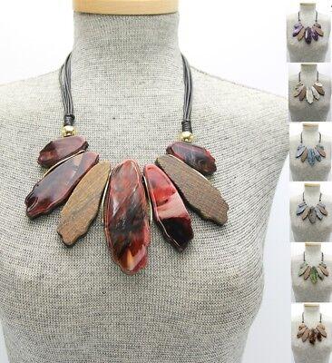 - Statement Marble Chunky Tortoise Resin Tie Dye Smokey Bib Wood Necklace Earrings