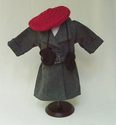 American Girl KIT Retired GRAY BELTED WINTER COAT REPRODUCTION w BERET + MITTENS