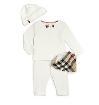 NWT NIB BURBERRY Pipa Infant Baby 4 piece White Check Trim Gift Set sz 18M