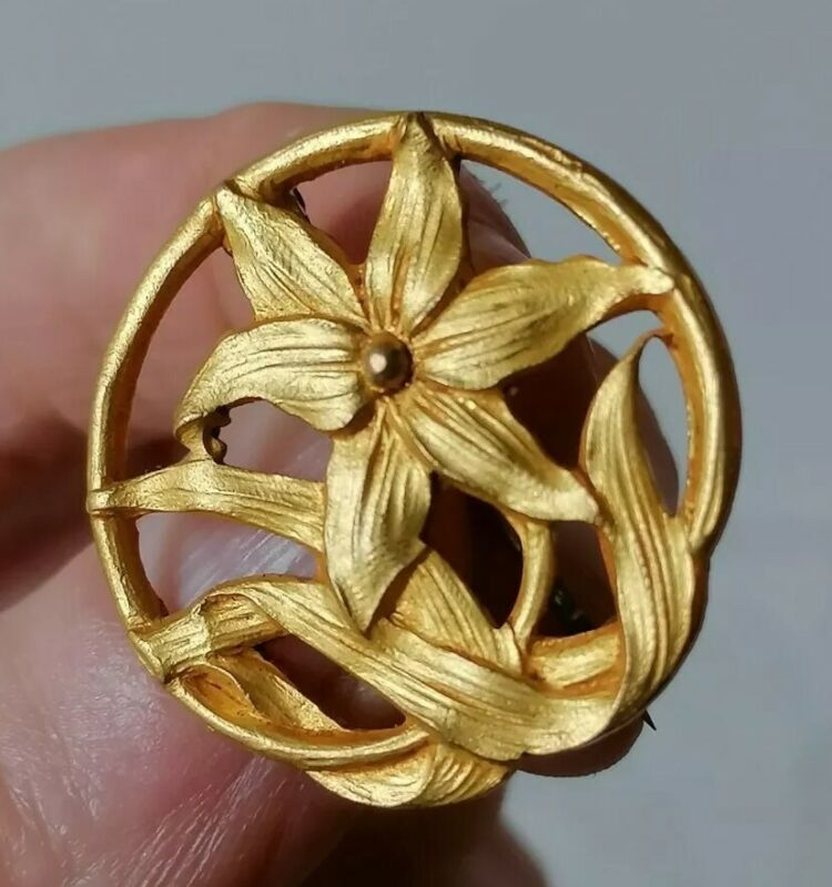 Antique Openwork Flower Edwardian Nouveau Gold Plated Unusual Round Pin Brooch