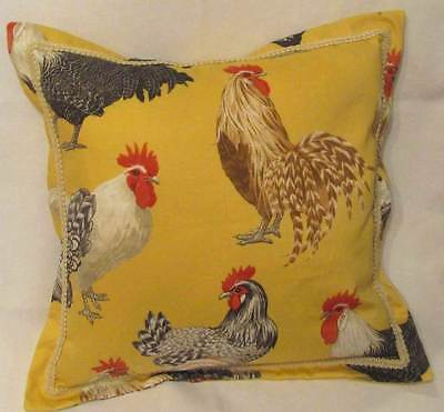 French State Yellow Rooster Pillow Provence Red Ivory Brown Flanged.